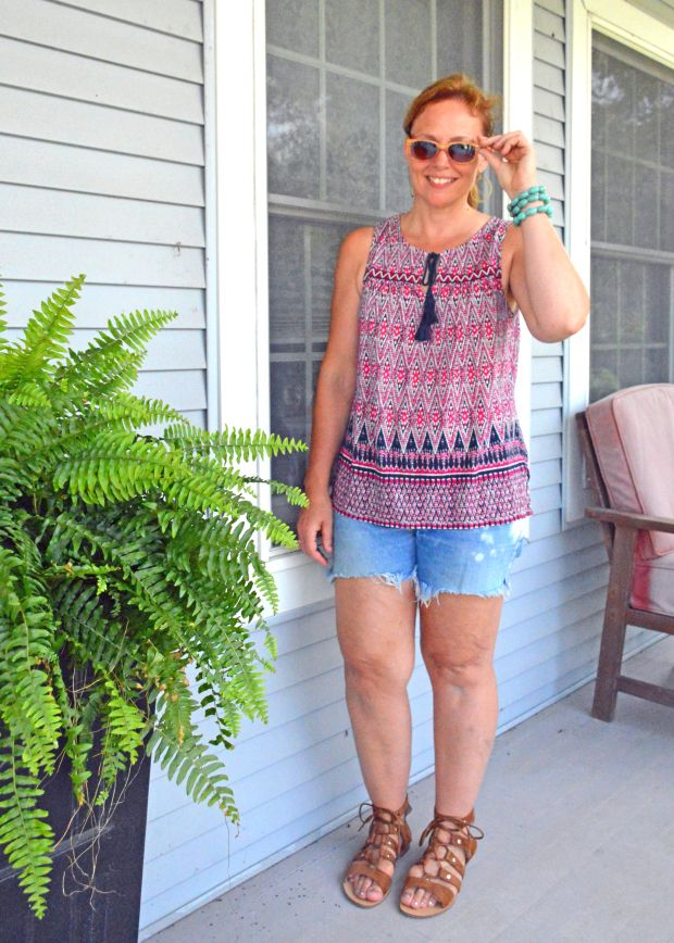 Boho casual summer outfit; breezy tribal tank, cutoffs, lace-up sandals, and turquoise