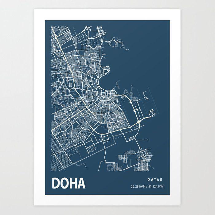 Doha Blueprint Street Map, Doha Colour Map Prints Art Print by tienstencil #AD , #affiliate, #sponsored, #Street, #Blueprint, #Colour, #Map