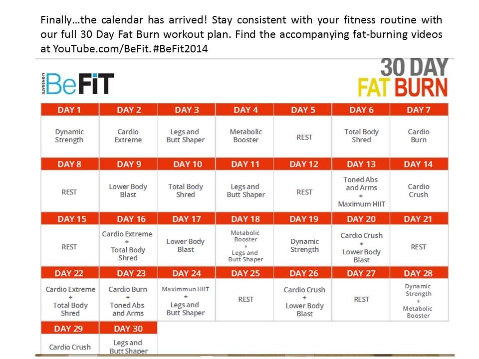 CALENDAR 30 DAY FAT BURN FROM BEFIT VIDEOS YOUTUBE