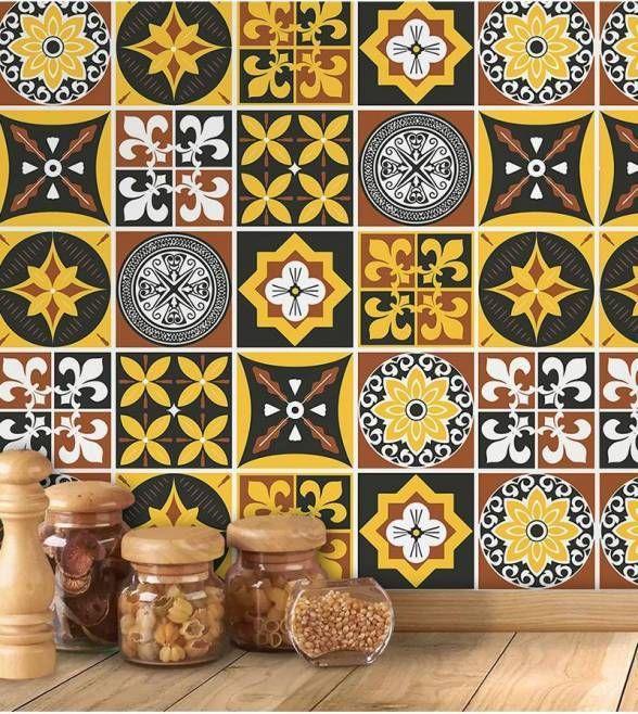 Azulejo adesivo marroquino amarelo