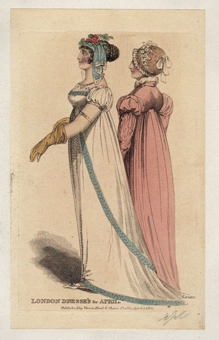 Lady's Museum, April 1807.  Gorgeous, simple trim on the white gown, and I love her sleeves!