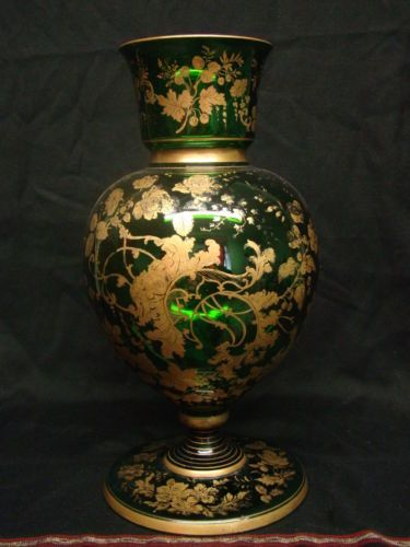 Antique 19th Century Green Bohemian Moser Vase With Gorgeous Flower