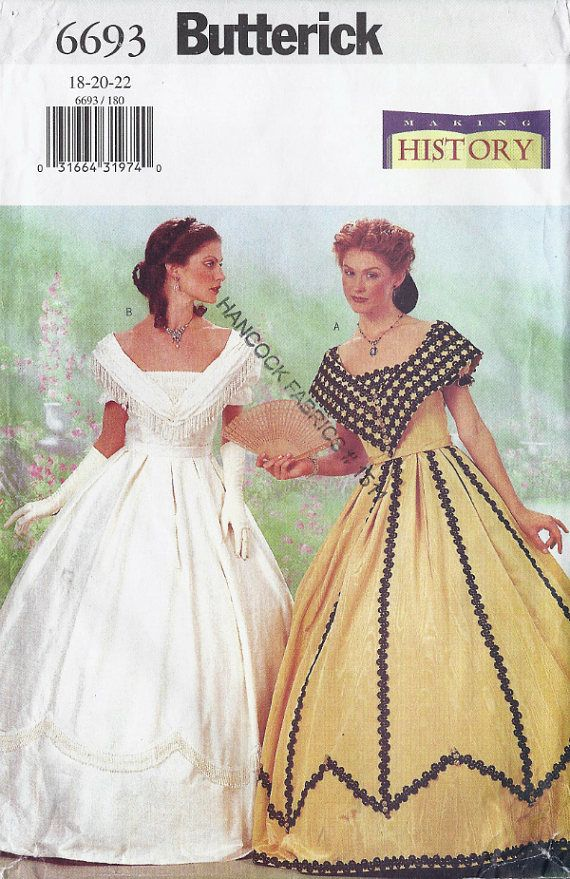 Southern Belle lined, off-shoulder ball gown costume pattern Misses ...