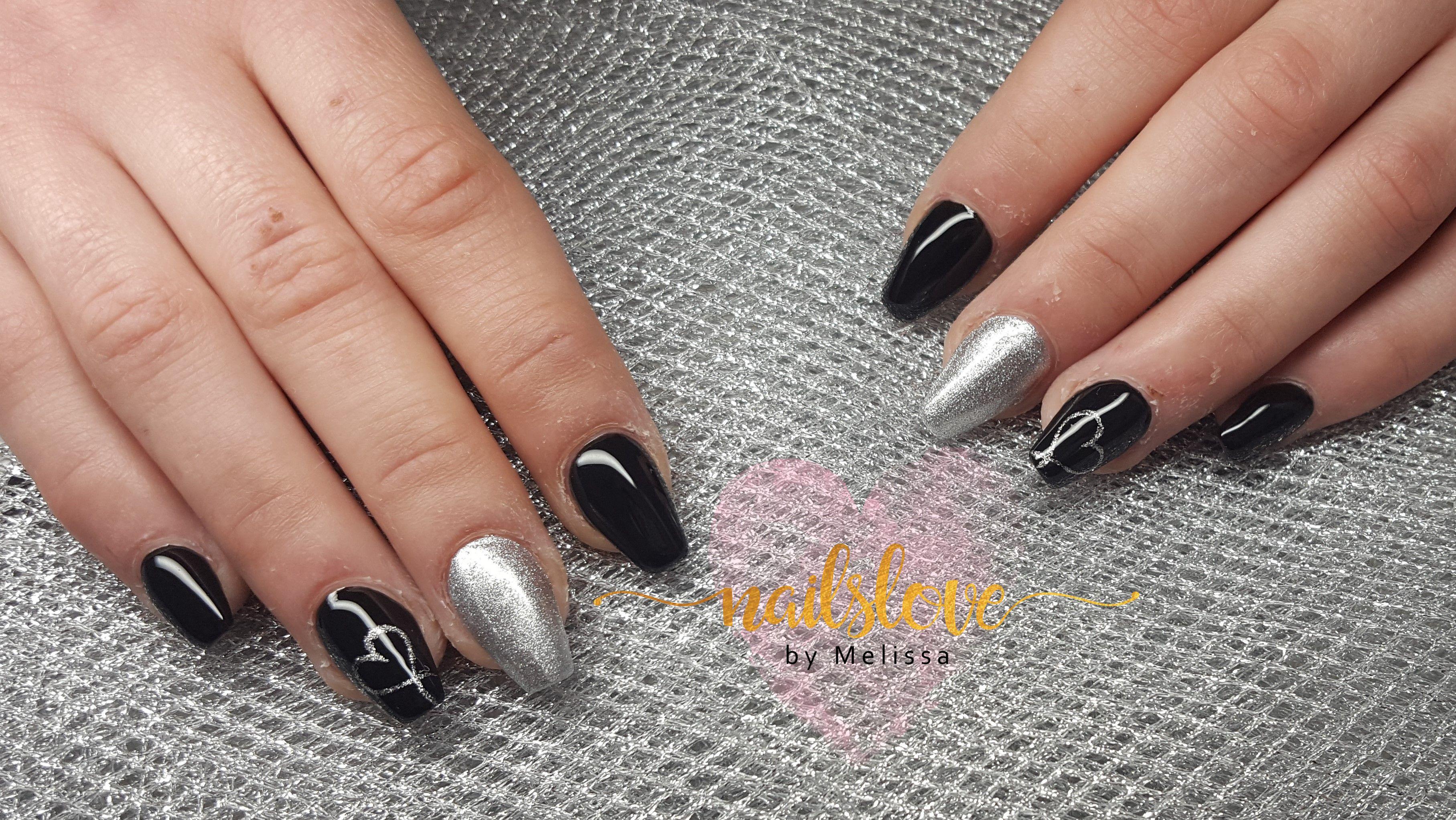 Ballerinanails Gelnails Black Silver Blacknails
