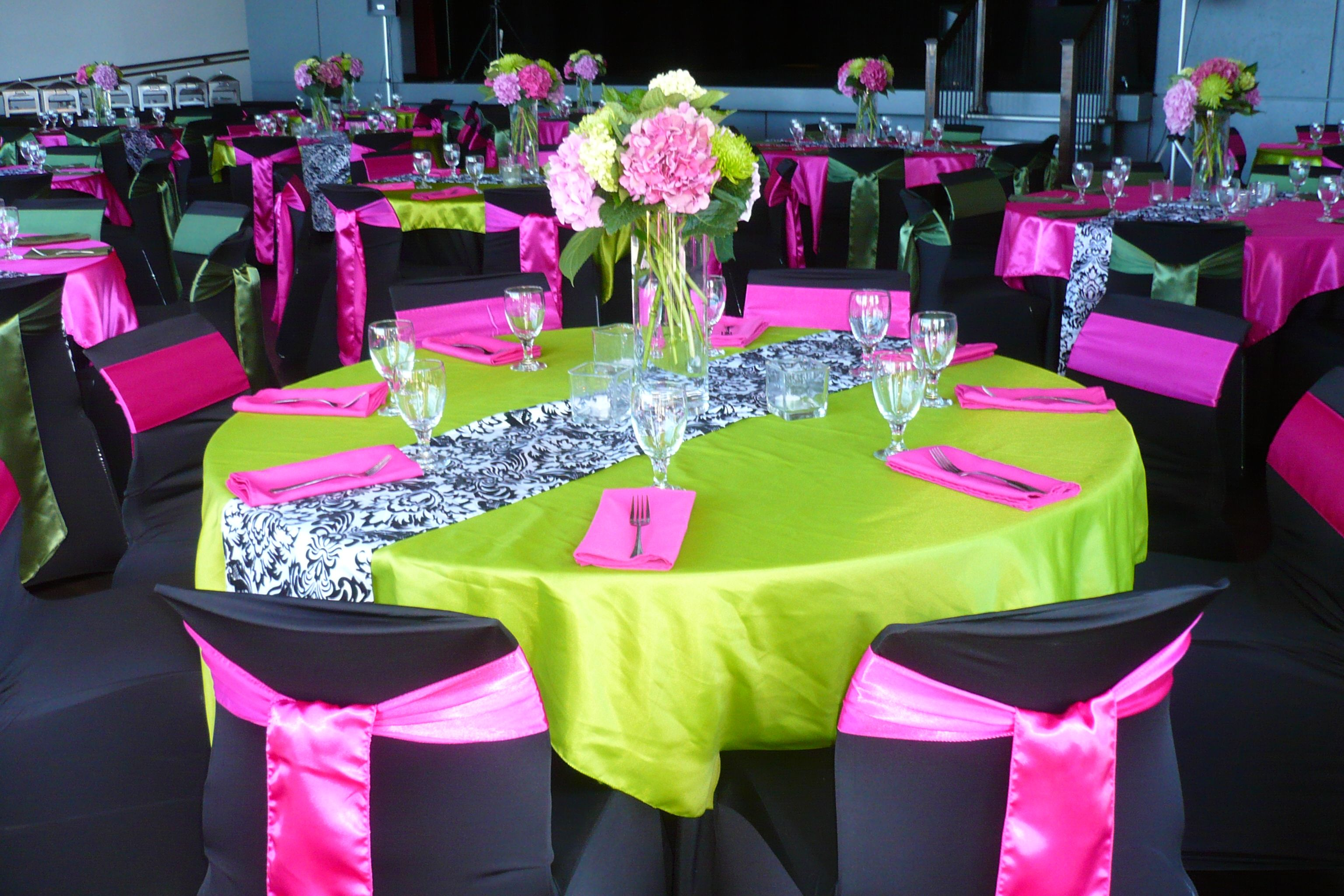 Wedding decorations green  Greens and Fuchsia Wedding Linens  Green Themed Weddings