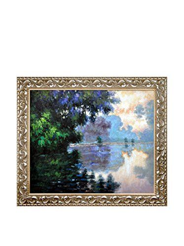 """Claude Monet """"Morning On The Seine Near Giverny"""" Framed Hand-Painted Reproduction"""