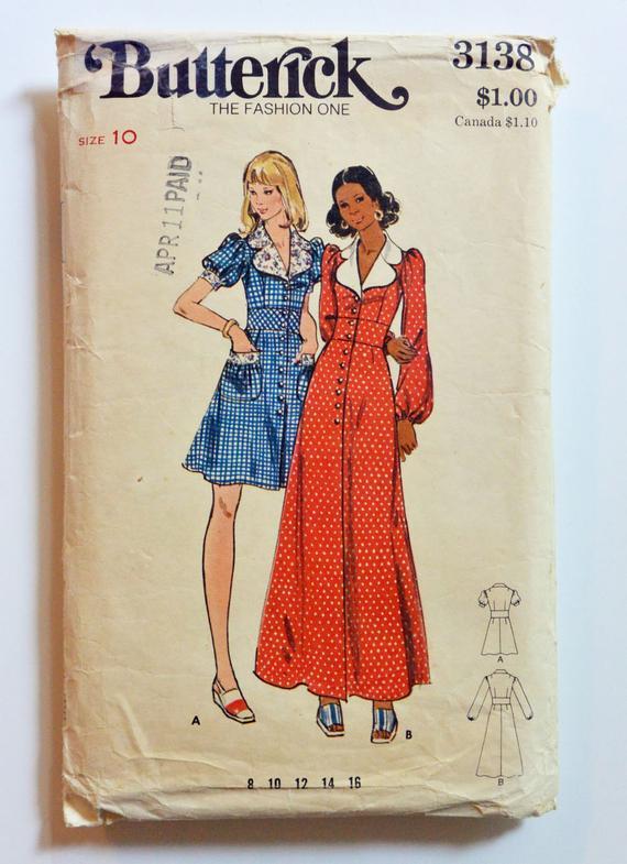 6a5dd54e0fe Vintage 70s Boho Dress Pattern / Empire Dress Pattern / 70s Mini Dress or Maxi  Dress Puff Sleeve Bab