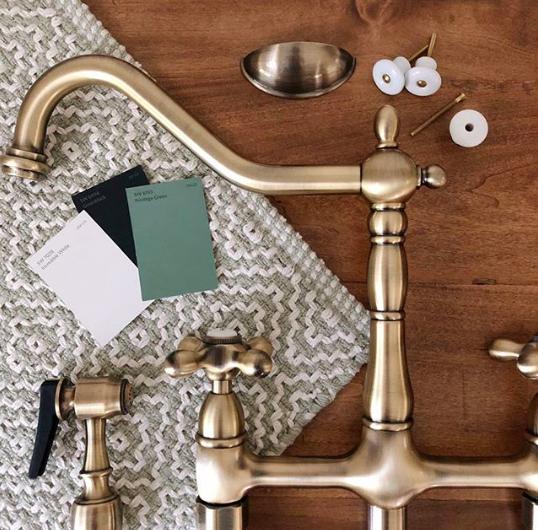Brass Faucet For A Farmhouse Kitchen Cotton Stem Bridge Faucet Kitchen Kitchen Faucet Antique Brass Kitchen Faucet