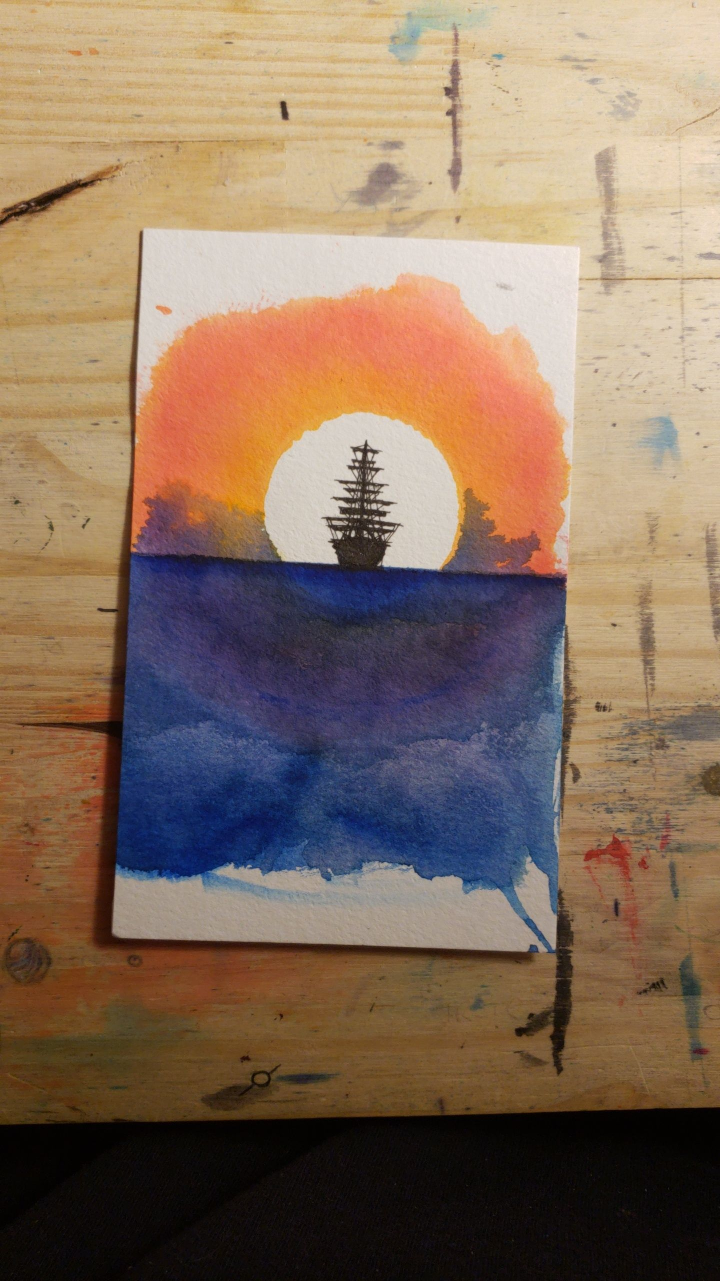 Sunset Ship Tombow Brush Pens And Micron Pen 4x6 Https Ift Tt