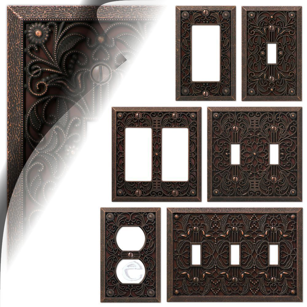 Metal Light Plates Wall Switch Plate Cover Filigree Aged Bronze Outlet Toggle Decora