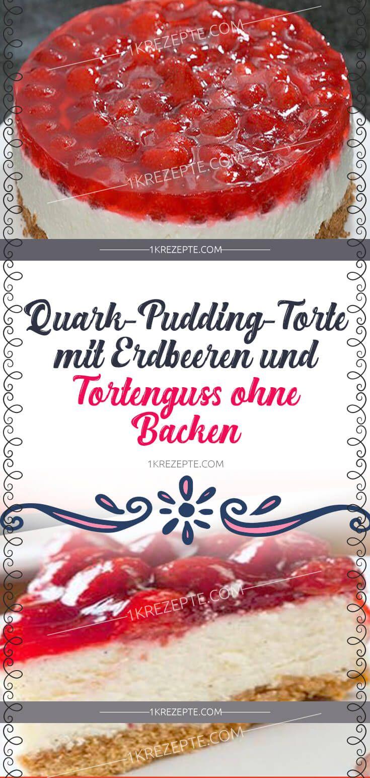Quark-Pudding-Torte mit Erdbeeren und Tortenguss ohne Backen #löffelbiskuitrezept