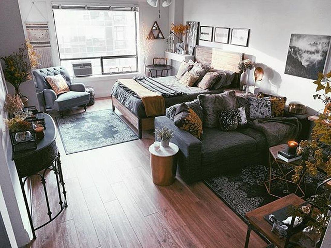 63 Best Rustic Apartment Living Room Decor Ideas And Makeover Small Studio Apartment Decorating Studio Apartment Decorating Apartment Room