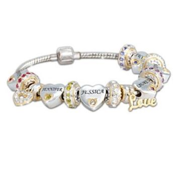 Birthstone Bracelet For Mom Each Child Has Their Own Heart Shaped Charm With Name And As Well A Round Birthstones Adorable