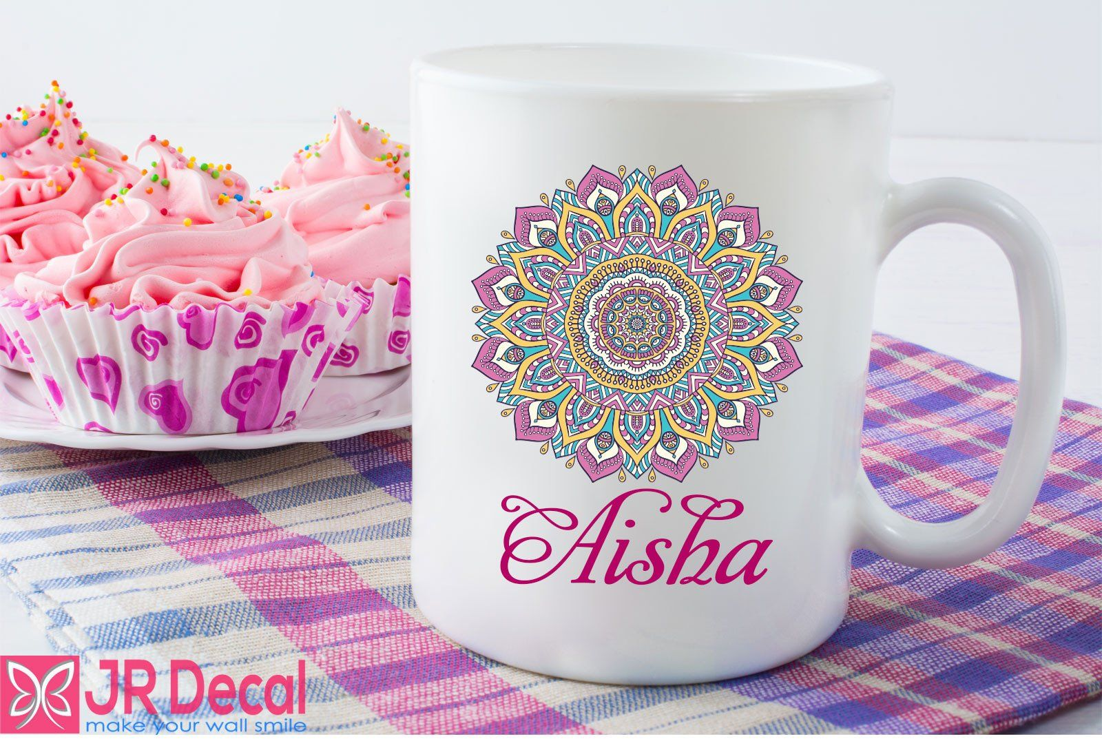 A picture of a cute coffee cup in pink color which seems to