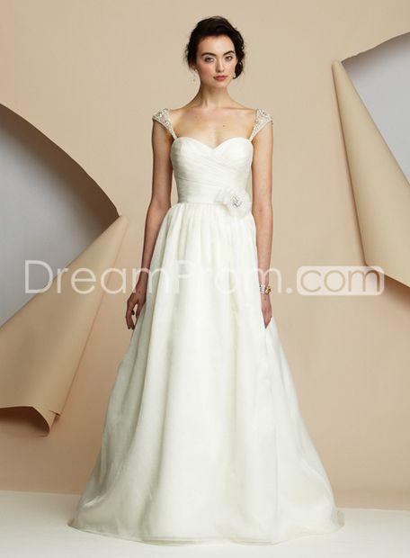 Glamorous Empire Capped-Sleeve Sweetheart Floor-Length Sweeping Wedding Dresses 2012 New Arrival