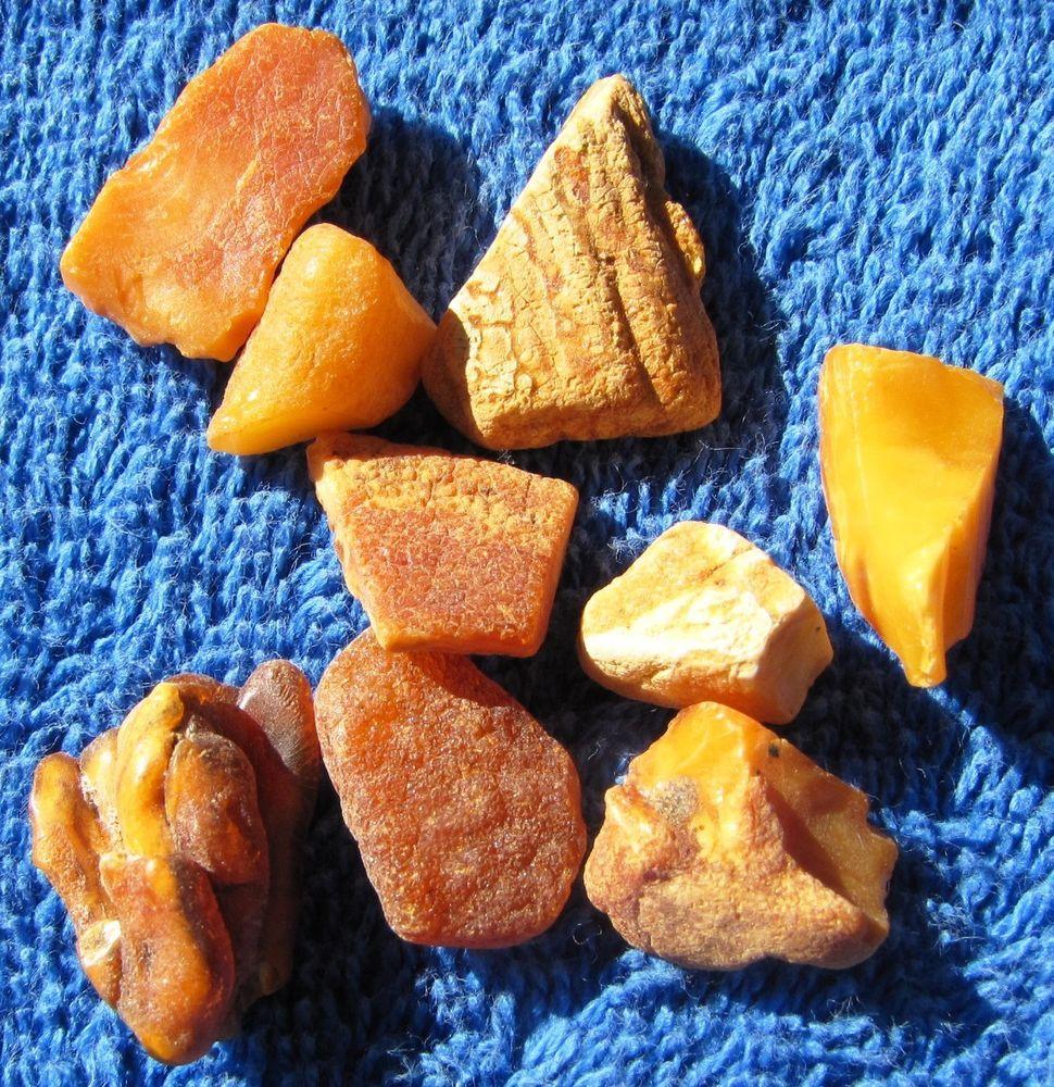 Yellow Honey Cognac Butterscotch Natural Baltic Amber Stone 7 gr 老琥珀