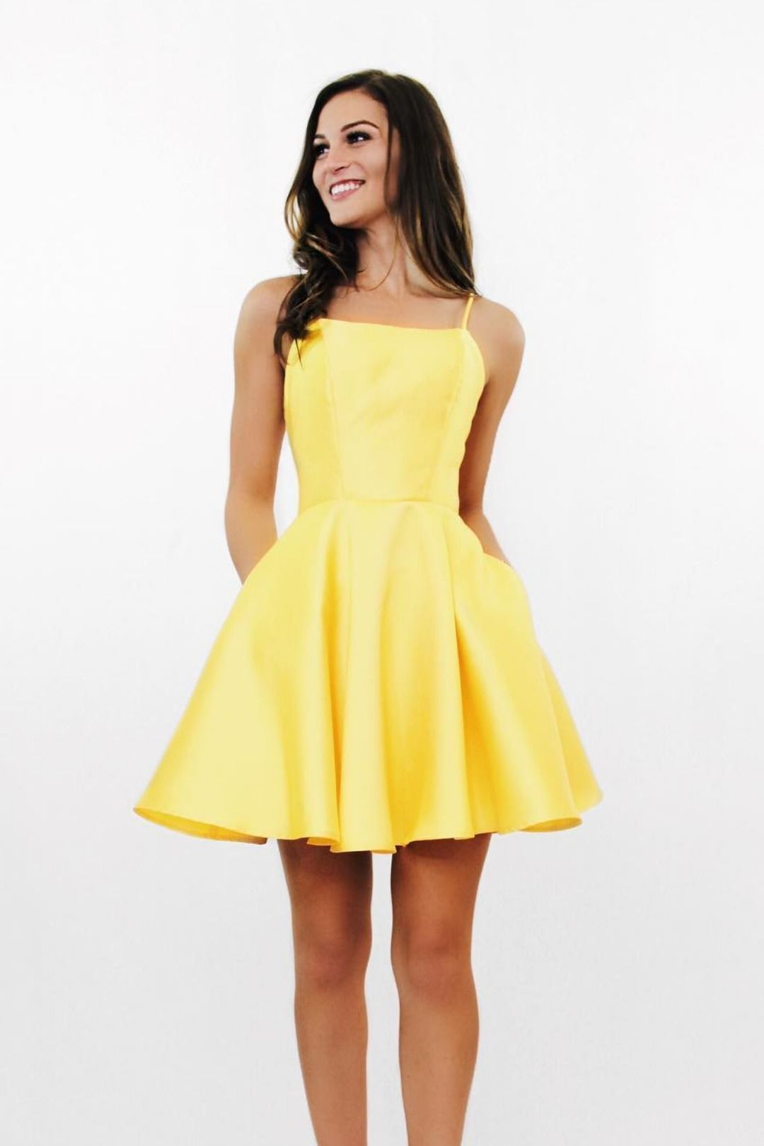 Short Yellow Homecoming Dress with Tie Back #schooldancedresses