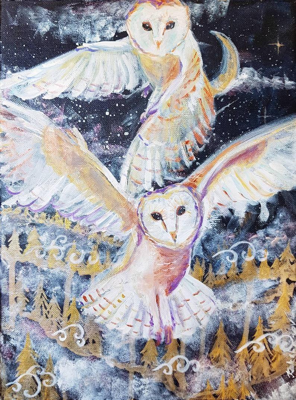 Bird painting for Halloween Print of owl Watercolor painting of owl Painting nursery art PRINT of owl Barn OWL PRINT Halloween decor