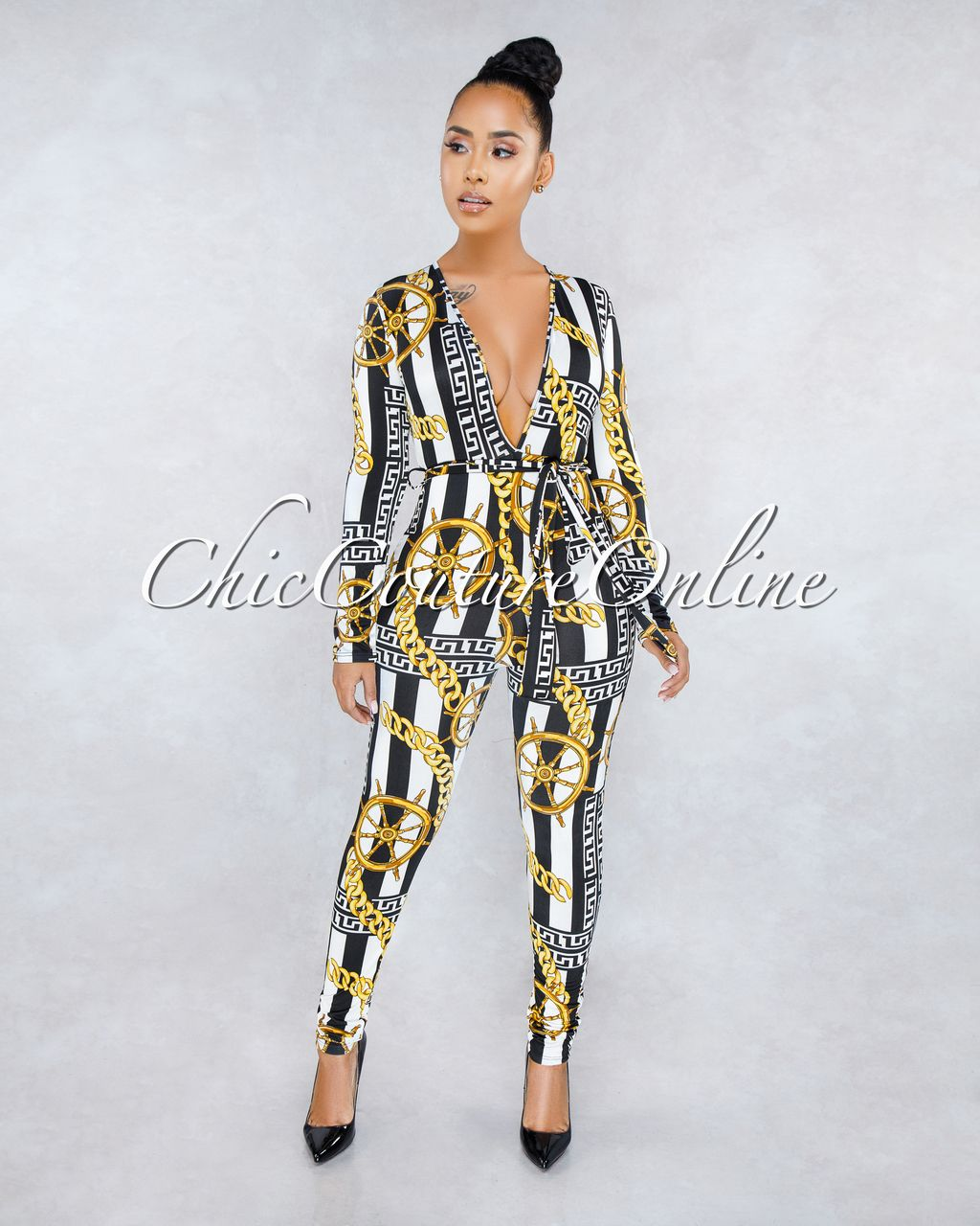 e1a5cca6876 Chic Couture Online - Lorna White Black Stripes Gold Print Deep V Jumpsuit
