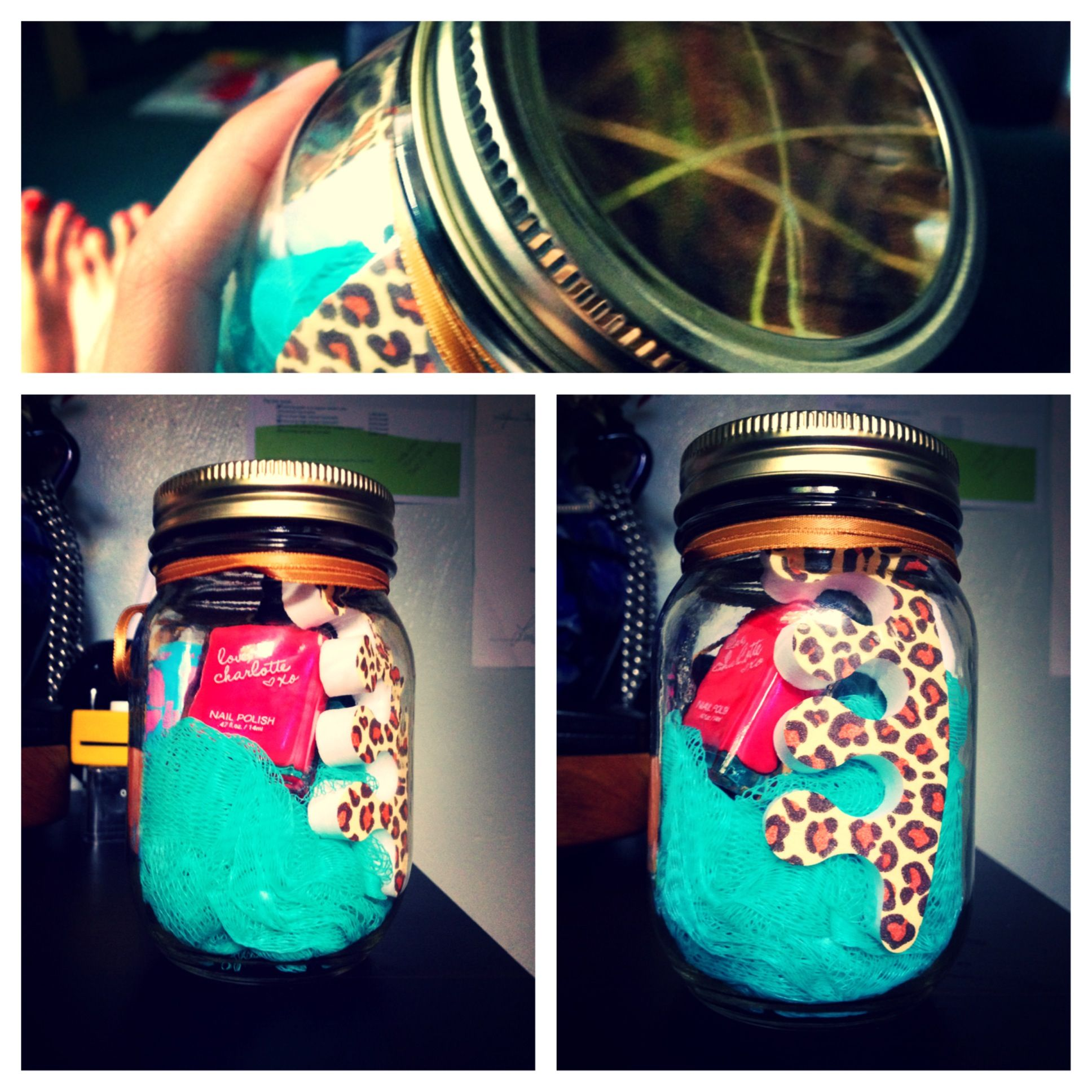 DIY Birthday Gift 650 Toe Separators Nail Polish Maybelline Baby Lips Loofa Mason Jar I Just Slipped A Magazine Put Some Mod Podge On The Lid To