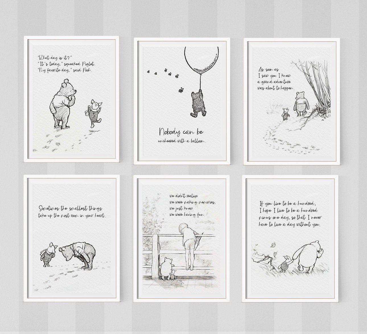 Photo of Classic Pooh Art Prints Set of 6. Classic Pooh Illustration. Classic Pooh Nursery Art. Winnie the Po