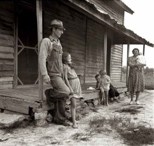 "July 1939. ""Tobacco sharecropper's house.  Rural rehabilitation clients. Whitfield family. Near Gordonton, North Carolina.""  negative by Dorothea Lange"