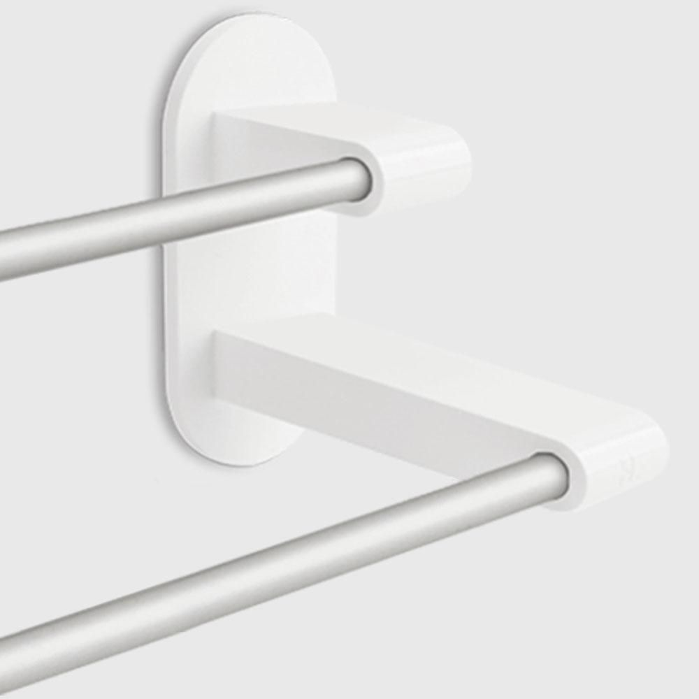 8h Towel Rack Holder White 3m Tape Double Rod Storage In 2020 Towel Rack Bathroom Accessories Double Rods