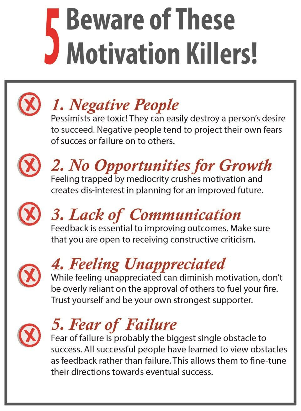 Beware These Motivation Killers Infographic Motivation