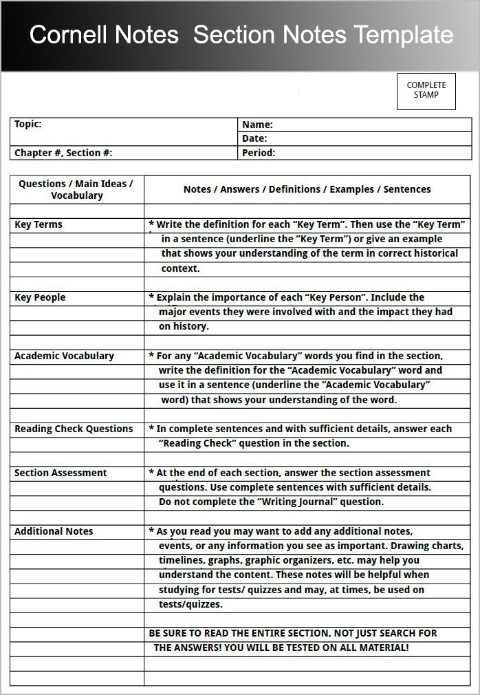 Image result for cornell notes template Algebra Pinterest - sample chapter summary template