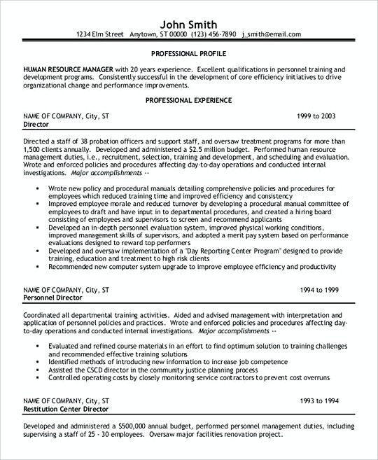 Sample Hr Manager resume template , Professional Manager Resume