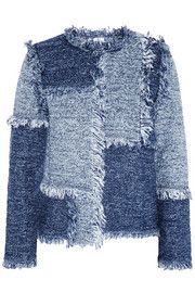 Patchwork denim-look tweed jacket #M Missoni #blue