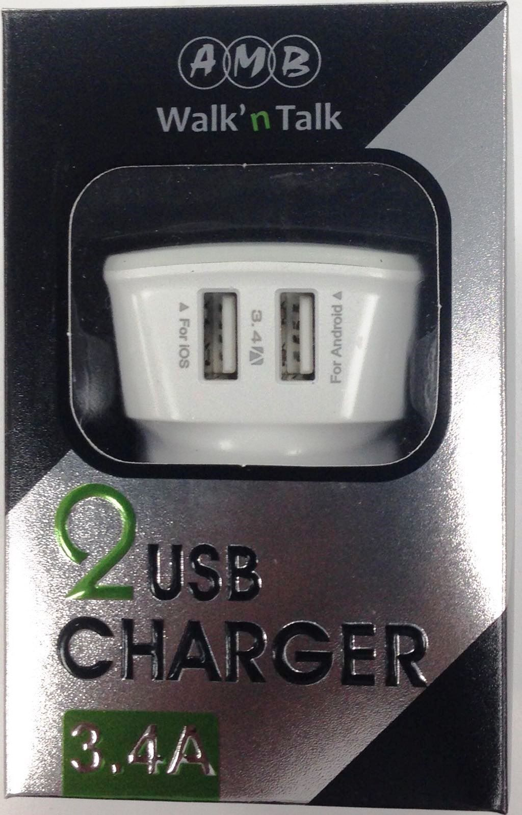 2 USB port 3.4Amp Charger Adaptor Usb, Charger, Tablet
