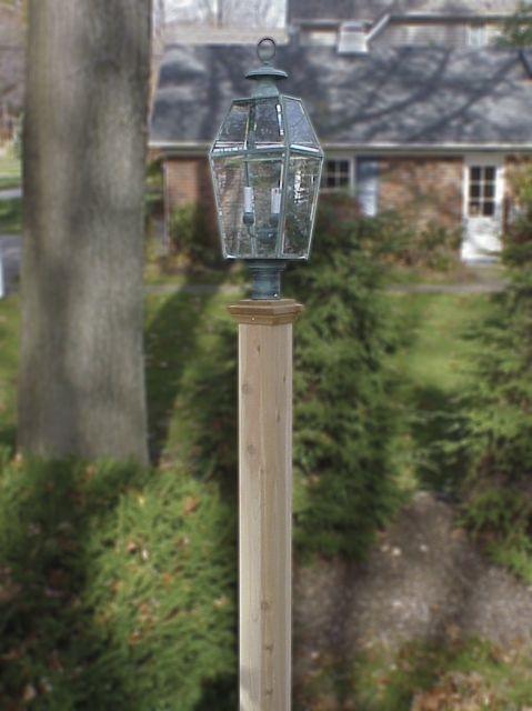 Finial 5x5x8 Natural Cedar Lantern Post Lantern Post Western Red Cedar Wooden Lanterns