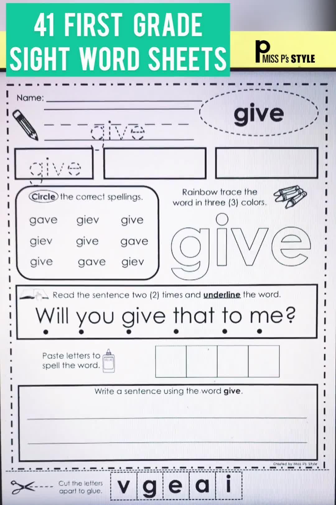 Sight Word Worksheets First Grade Grade Sight Word