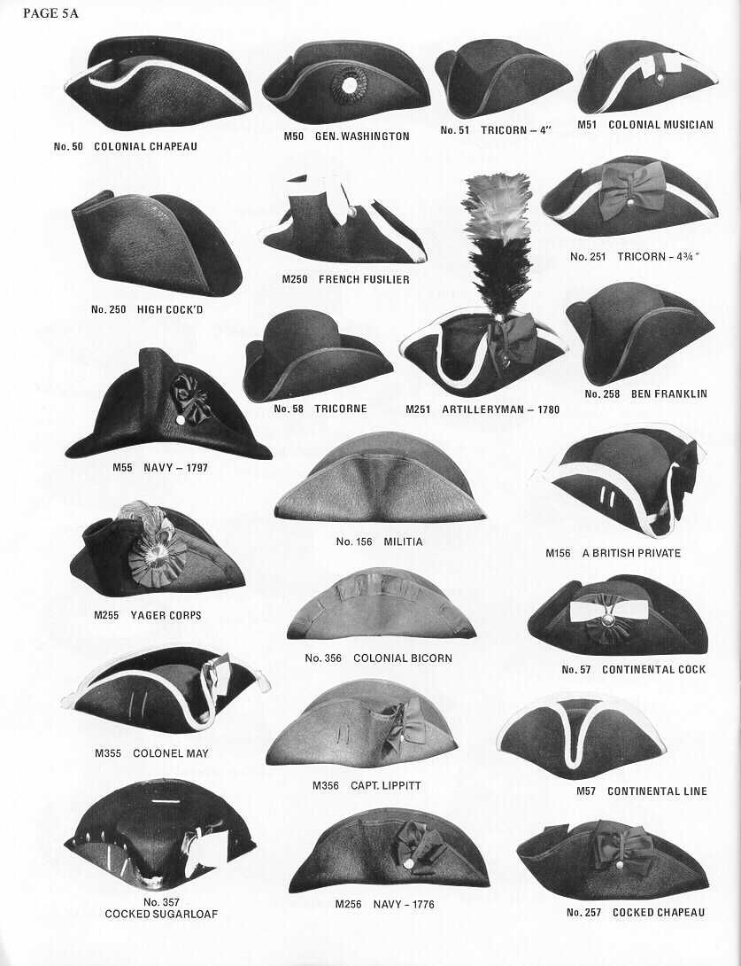 """thegentlemanscloset  """"Various styles of 18th century tricorne hats. Most of  these are military hats which usually had a cockade on them. cd73ca63504a"""