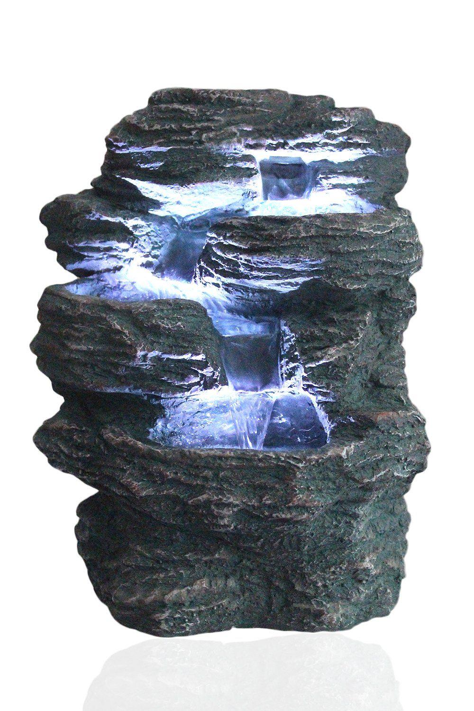 Springbrunnen Niagara Komplettes Set Hohe Ca 34 Cm Breite Ca 30 Cm Tiefe Ca 22 Cm Gewicht Ohne Wasser Ca 2 Zimmerbrunnen Springbrunnen Led Beleuchtung