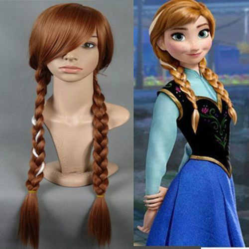 New Adult and Childrens Disney Frozen Princess Anna Brown Braids Cosplay Wig