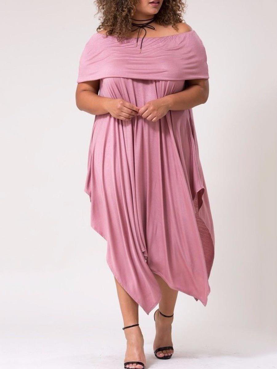 Slash Neck Plus Size Asym Women\'s Maxi Dress | Plus Size ...