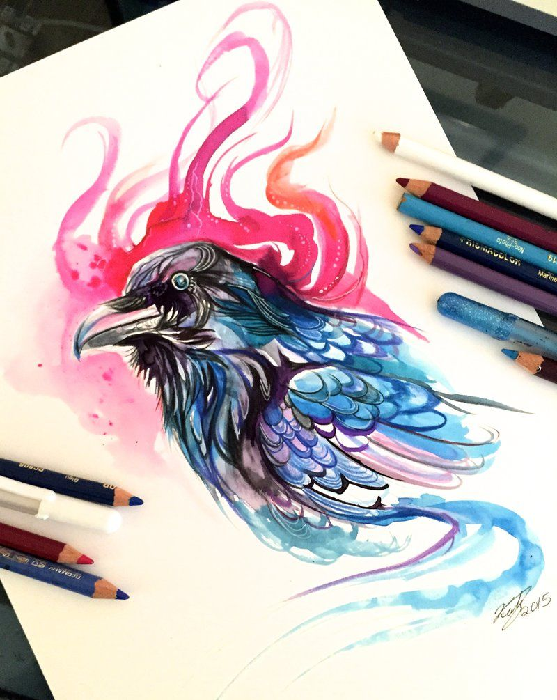 Fantasy Watercolor Paintings And Colored Pencils Drawings In 2020