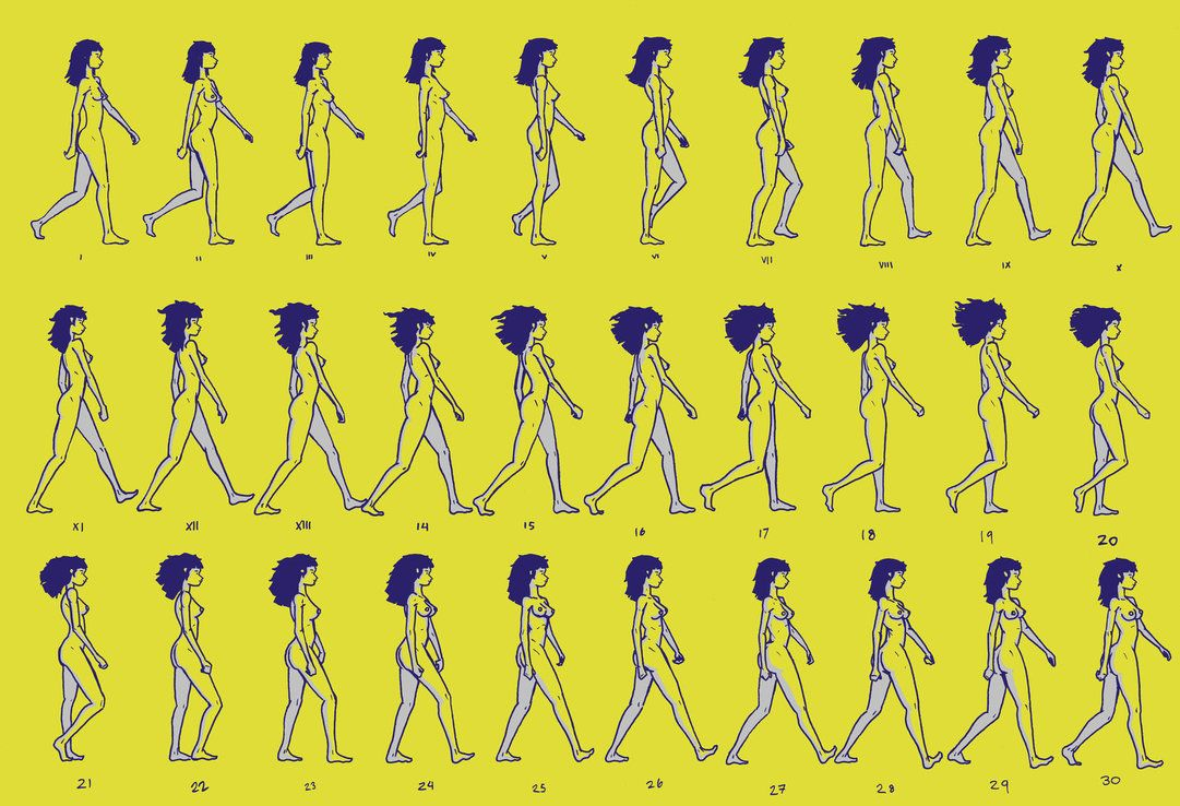 Female Walk Cycle Frame Sheet by InTheLostWoods