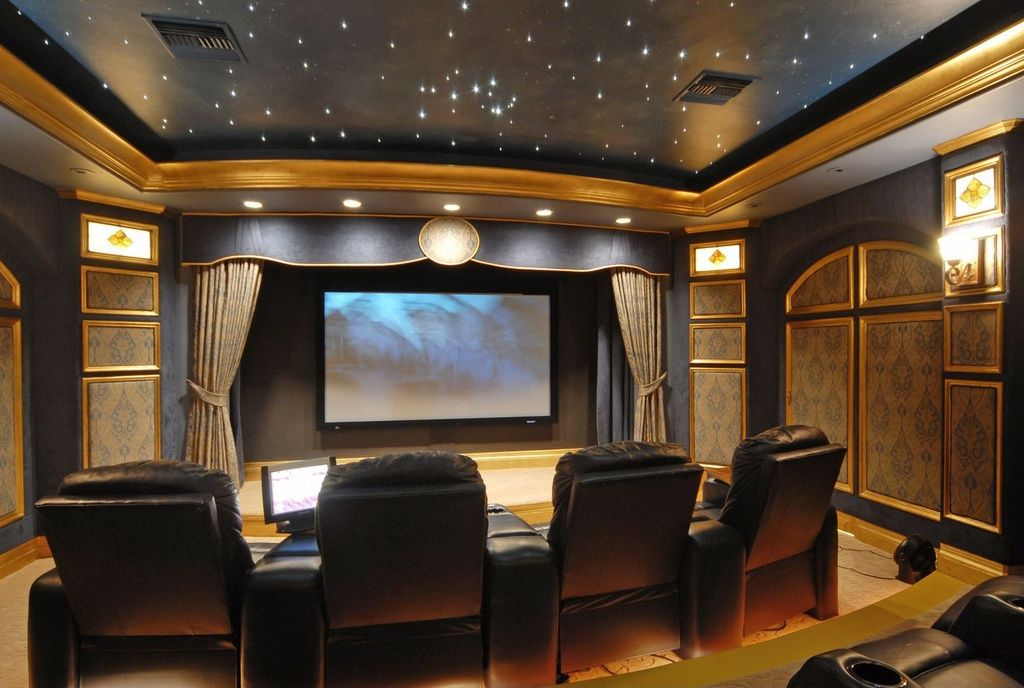 Home Theater Wall Panels traditional home theater with crown molding, sound absorption