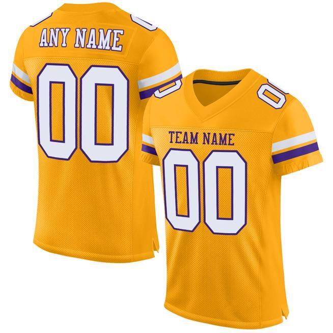 Aitrony Custom Gold White-Purple Mesh Authentic Football Jersey ...