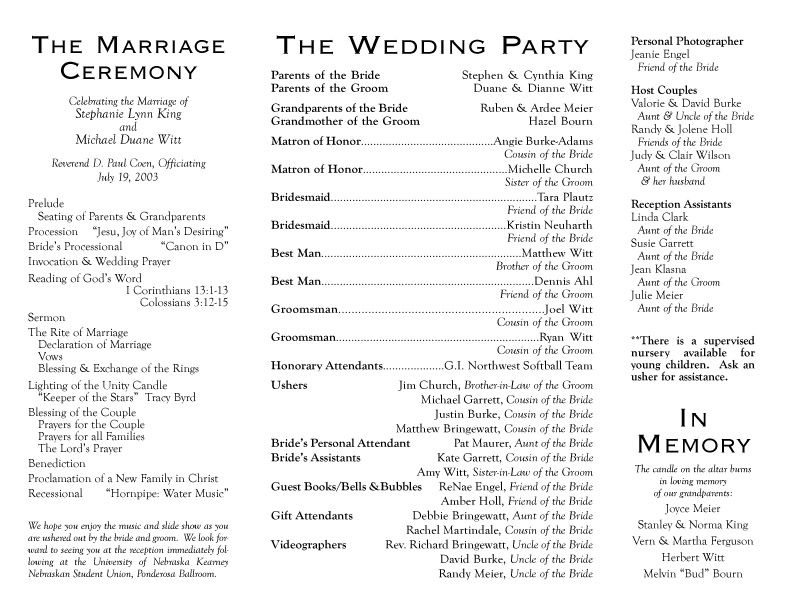 Wedding Program Wording Examples Everything Wedding Ideas Wedding
