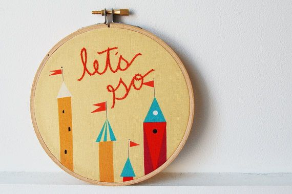 Embroidery Hoop Wall Art let's go Yellow by merriweathercouncil, $38.00