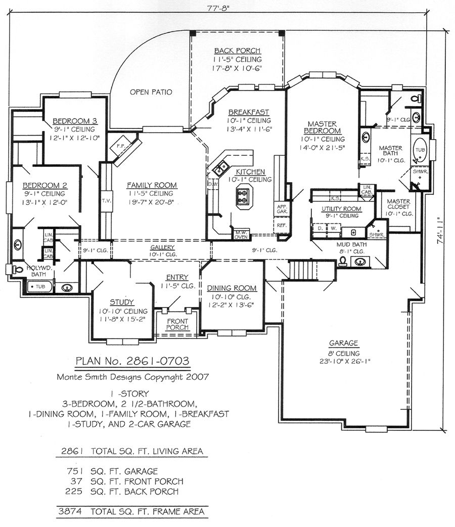 1 Story, 3 Bedrooms, 2 1/2 Bathrooms, 1 Dining Room, 1
