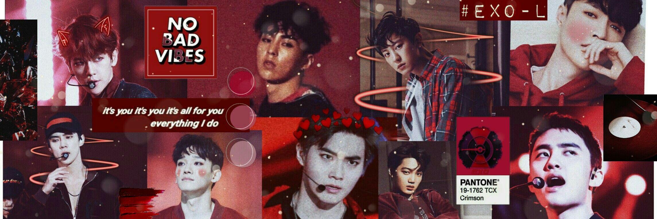 Exo Red Aesthetic Ot9 Twitter Header Exo