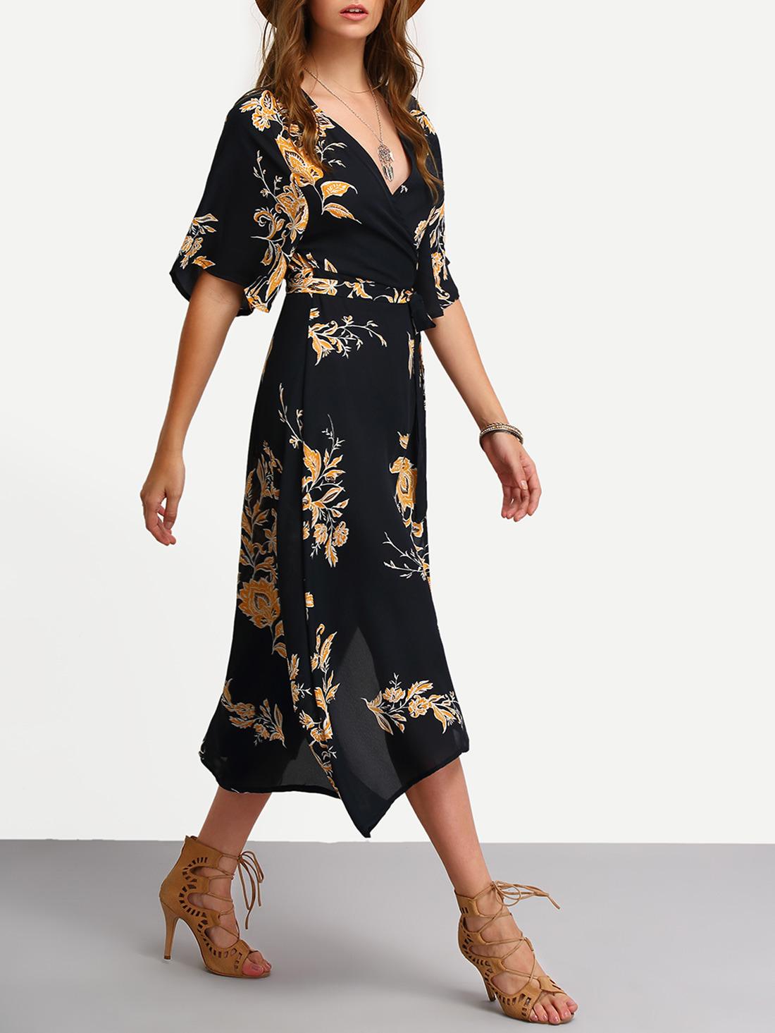 Kleid gewickelt mit v ausschnitt und blumenmuster l ssig schwarz german shein sheinside - Shein damenmode ...