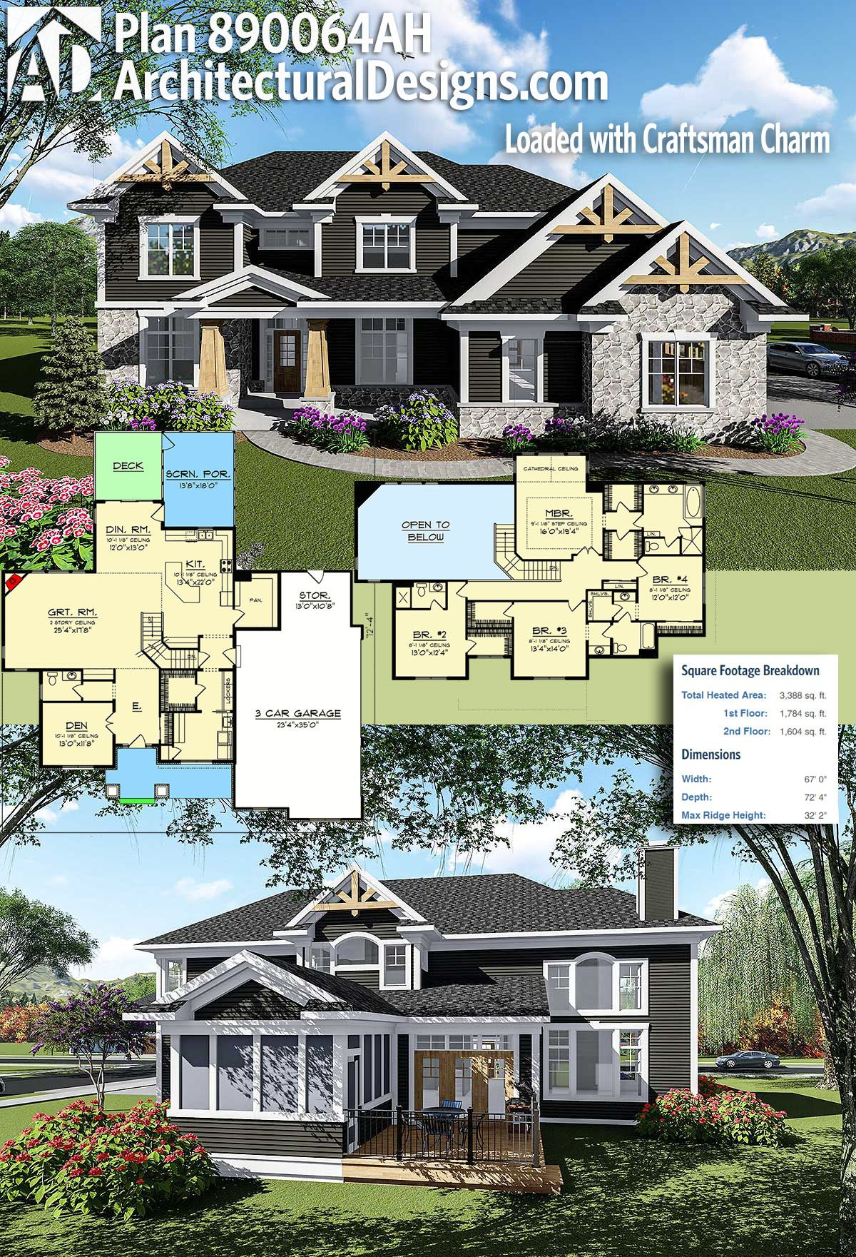 Plan 890064ah Loaded With Craftsman Charm Dream House Plans Craftsman House Craftsman House Plan