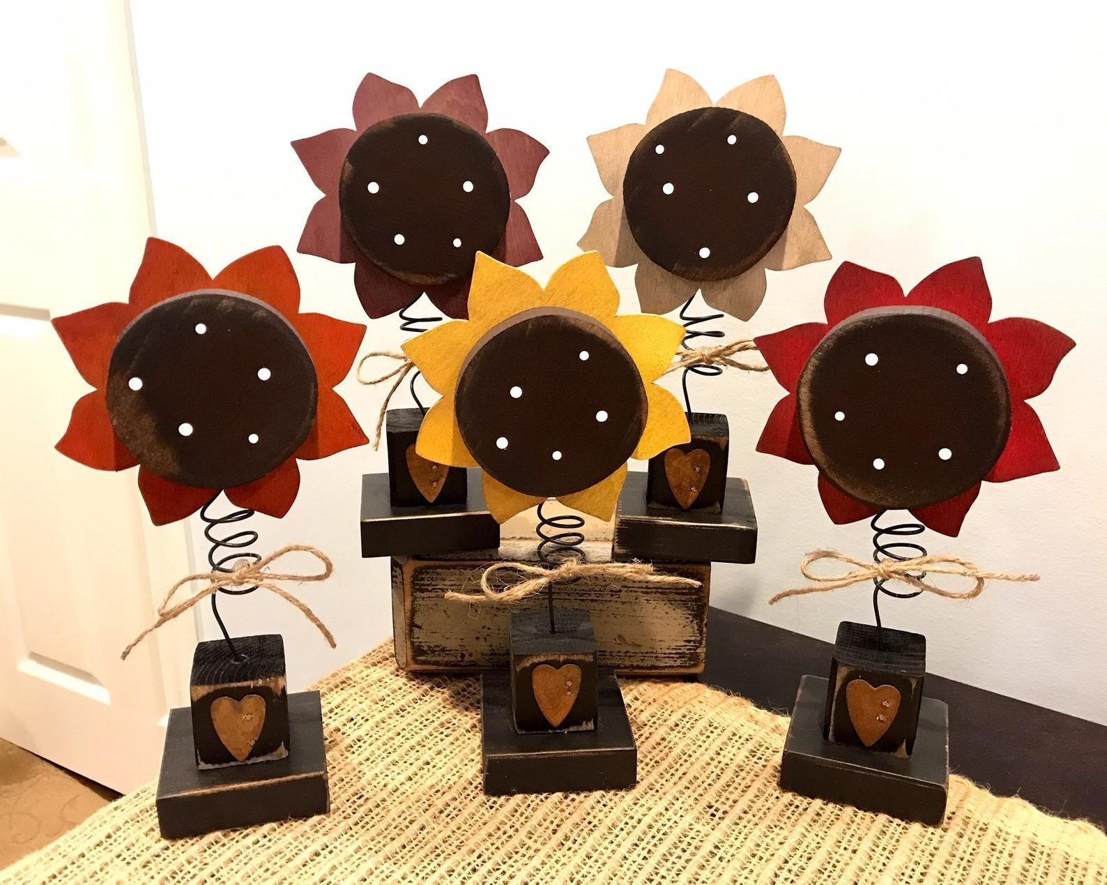 Crafts Primitive Bobble sunflowers Primitive wooden sunflowers Fall wood  Etsy