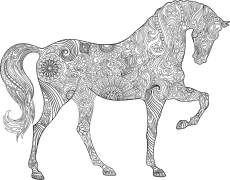 malvorlage pferd, welches schritt geht. von links nach rechts. | ausmalbilder pferde